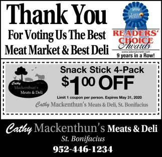 Thank You for Voting Us the Best Meat Market & Best Deli