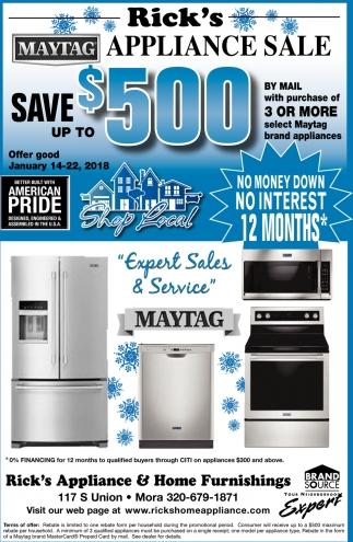 Sale, Rick\'s Appliance & Home Furnishings, Mora, MN