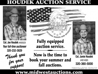 Fully Equipped Auction Service.