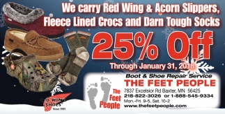 We Carry Red Wing and AcornSlippers, Fleece Lined Crocs and Danr Tough Socks