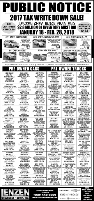 2017 Tax Write Down Sale!