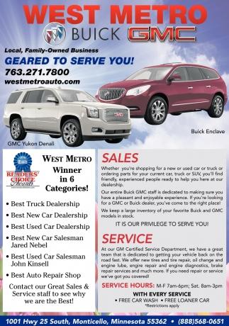 Metro Buick GMC West Metro Buick GMC Monticello MN - Buick dealerships in minnesota