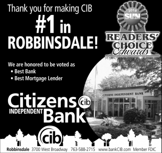 Thank you for making CIB #1 in Robbinsdale!