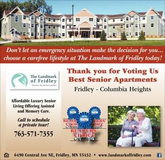 The Landmark Of Fridley Senior Living Ads From Sun Focus