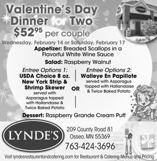 Valentines Day Lyndes Restaurant