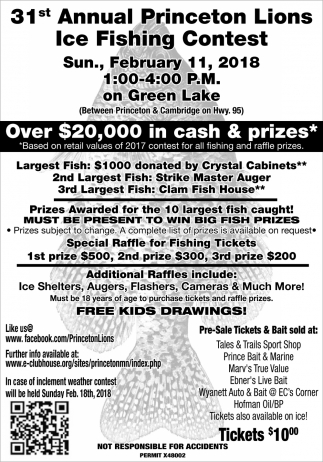 31th Annual Princeton Lions Ice Fishing Contest, Princeton