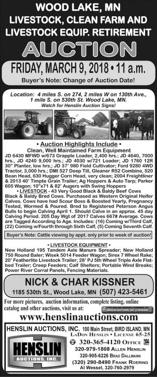 Auction, Henslin Auctions INC, Bird Island, MN