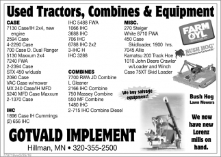 Used Tractors, Combines And Equipment