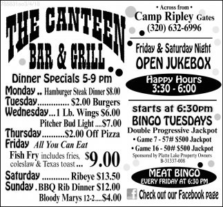 Dinner Specials, The Canteen Bar And Grill, Little Falls, MN