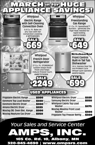 March in for huge appliance savings