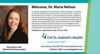 Welcome, Dr. Marie Nelson