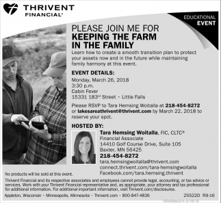 Please join me for keeping the farm in the family