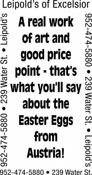 A Real Work of Art and Good Price Point - that's what you'll say about the Easter Eggs from Austria
