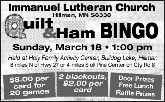 Quilt & Ham Bingo