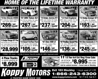 Home of the lifetime warranty!