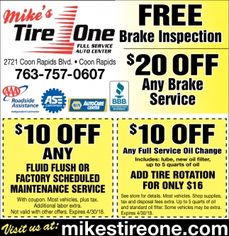Free Brake Inspection Near Me >> Free Brake Inspection Mike S Tire One Coon Rapids Mn