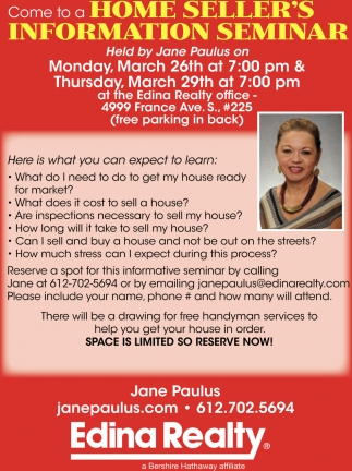 Come to a Home Seller's Information Seminar