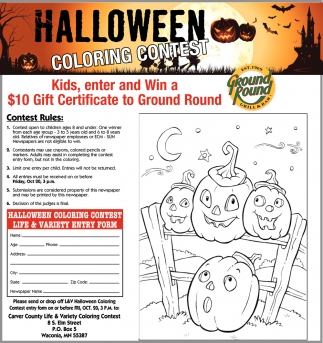 ads for carver county life in waconia mn - Halloween Coloring Contest 3