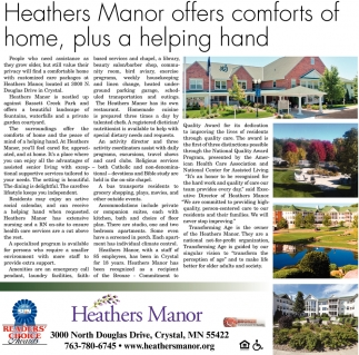Heathers Manor offers comforts of home, plus a helping hand