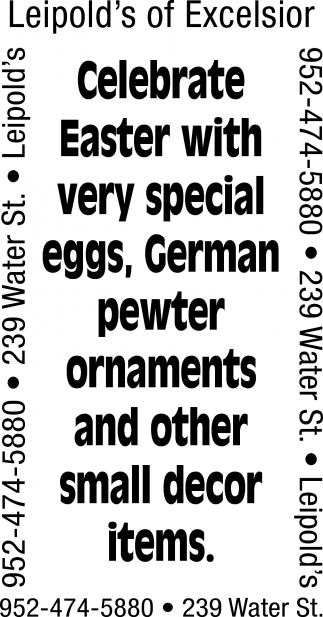 Celebrate Easter with very special eggs, German pewter ornaments and other small decor