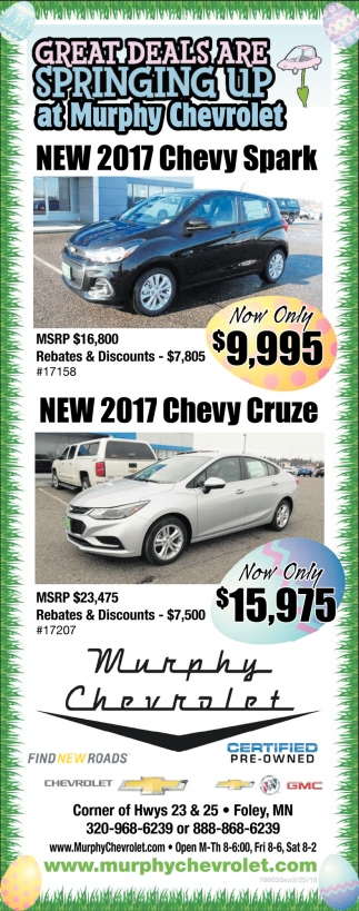 Grat Deals are Springing Up At Murphy Chevrolet!