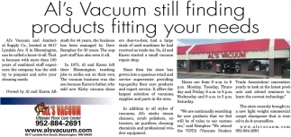 Al's Vacuum still finding products fitting your needs