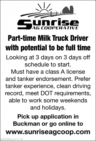 Part-time Milk Truck Driver with potential to be full time