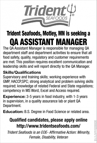 QA Assistant Manager