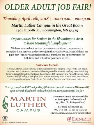 Older adult job fair!, Martin Luther Campus , Bloomington, MN