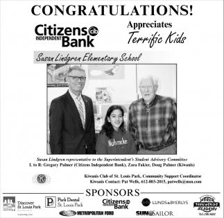 Congratulationes! Citizens Independent Bank Appreciates Terrific Kids!