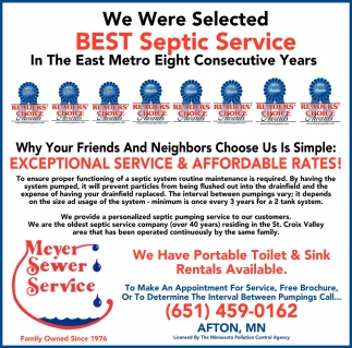 We Have Been Selected Best Septic Service In The East Metro
