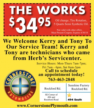 The Works Cornerstone Automotive Elk River Mn