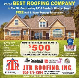 Best Roofing Company Jtr Roofing Lake Elmo Mn