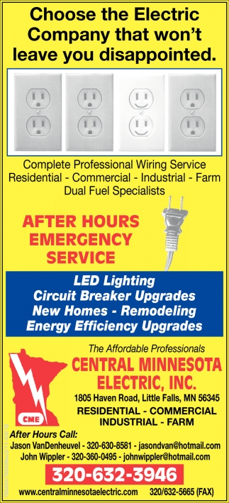 Complete Professional Wiring Service Central Minnesota Electric Commercial And Industrial Little Falls Mn