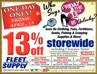 Save on Clothing, Fans, Fertilizers, Seeds Fishing & Camping Supplies