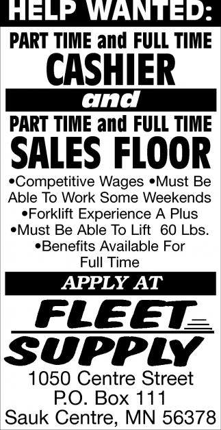 Part Time and Full Time Cashier