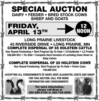 Complete Disperal of 25 Holstein Cows