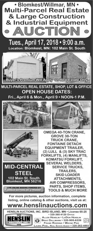 Multi-Parcel Real Estate & Large Construction & Industrial Equipment Auction