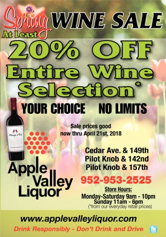 20% OFF Entire Wine Selection