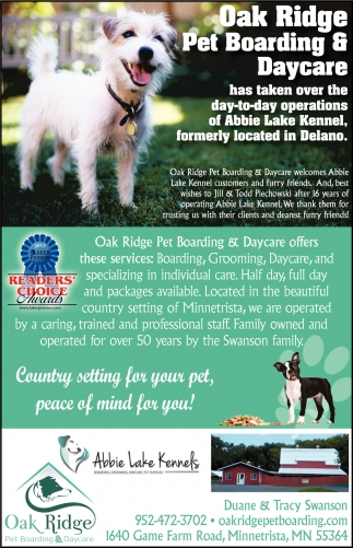 Country setting for your pet, peace of mind for you