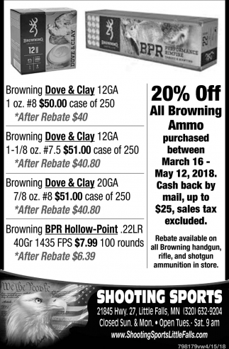 20% OFF All Browning Ammo