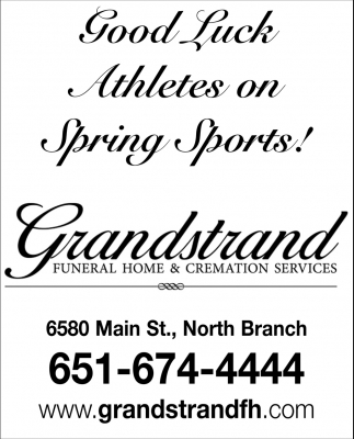 Good Luck Athletes on Spring Sports