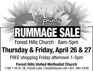 Spring Rummage Sale, FOREST HILLS CHURCH, Forest Lake, MN