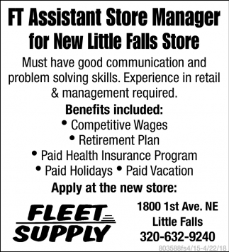 FT Assistant Store Manager