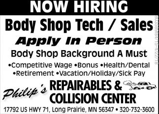 Body Shop Tech/Sales