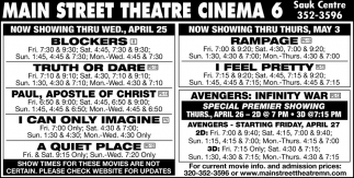 Now Showing Thru Wed, April 25