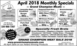 April 2018 Monthly Specials