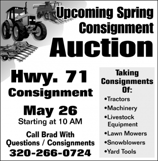Upcoming Spring Consignment Auction