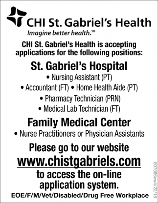 CHI St. Gabriel's Health Hiring