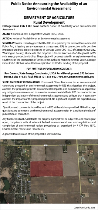 Public Notice Announcing the Availability of an Environmental Assessment